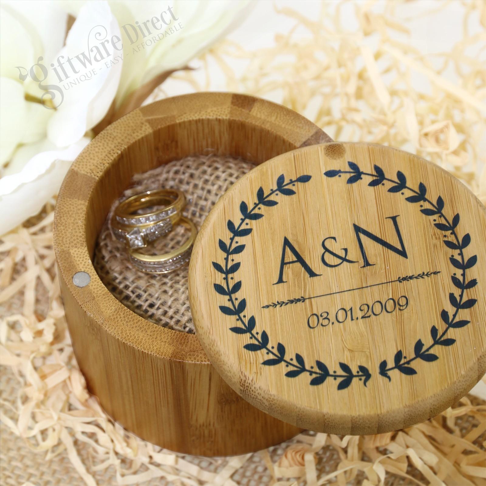 Personalised Bamboo Wedding Ring Box Jewellery Keepsake