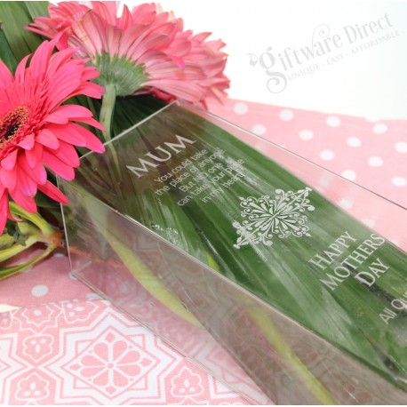 Engraved Mothers Day Glass vase