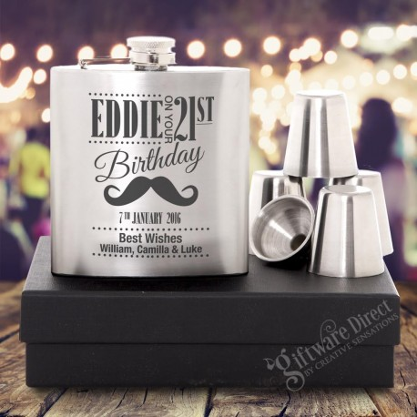 personalised engraved silver hip flask gift - Birthday Gift
