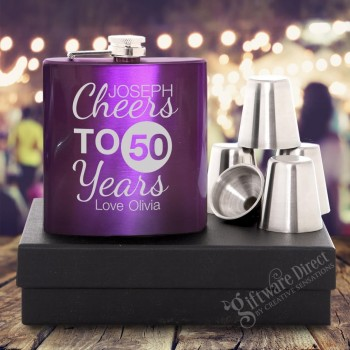 Birthday 7oz Purple Hip Flask Gift Set Engraved Stainless