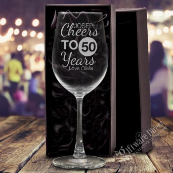 engraved 350ml birthday wine glass personalised gift
