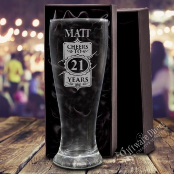 engraved schooner beer birthday glass