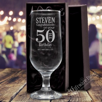 engraved footed beer goblet glass for family and friends , Birthday gift etched