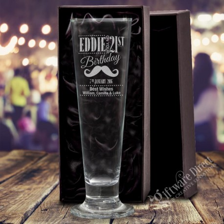 Tall 420ml Birthday Pilsner Footed Beer Glass Engraved
