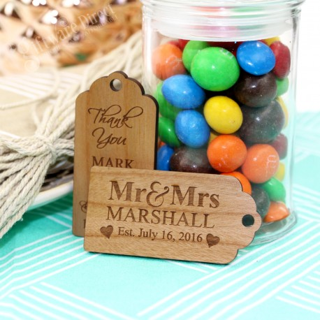 Large Engraved Wooden Gift Tag with Jute String personalised wedding favour