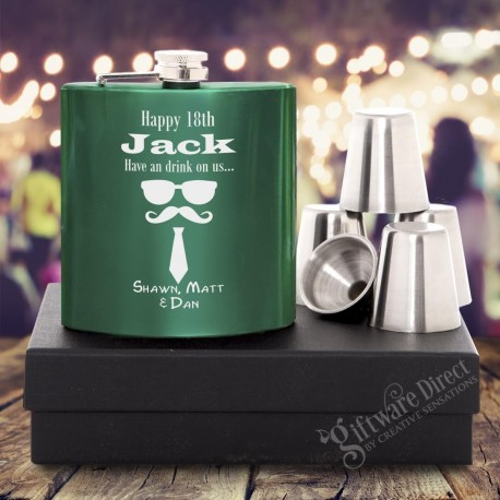 Birthday 7oz Green Hip Flask Gift Set Engraved Stainless