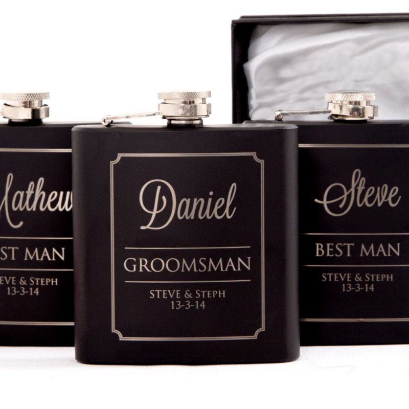 Wedding Gifts Best Man: Personalised Engraved Black Wedding Hip Flask Set