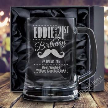 Engraved 500ml Beer Mug Birthday Glass