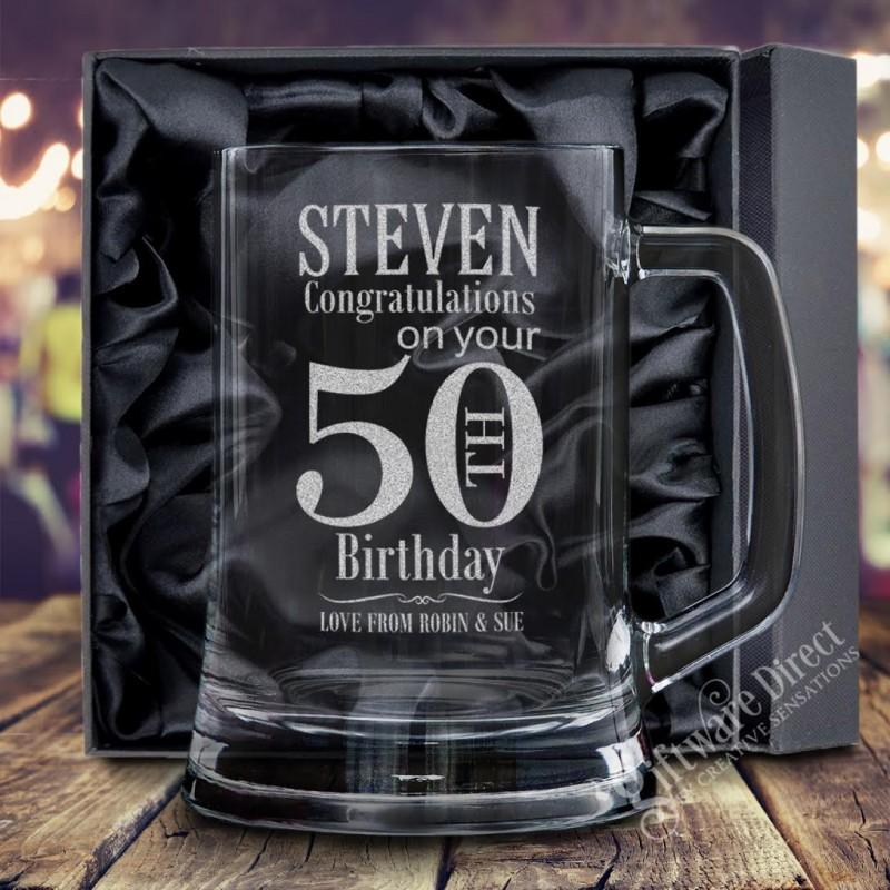Personalised Engraved 500ml Beer Mug Tankard Birthday