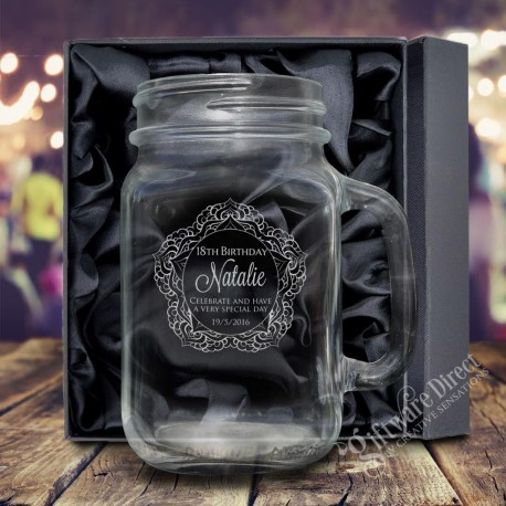 Engraved 490ml Mason Jar Birthday Redneck Glass