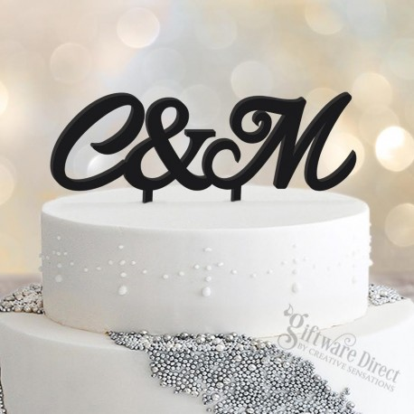 personalised initial acrylic surname wedding cake topper - custom made Bride Groom Design