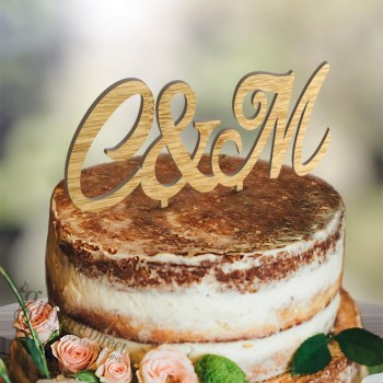 Personalised Initial Wooden Wedding Cake Topper