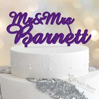 personalised acrylic wedding cake topper - custom made with name surname