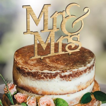 Mr & Mrs stacked wooden wedding cake topper laser cut