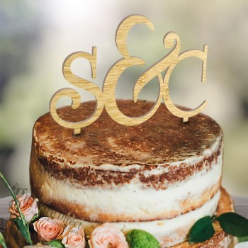 Personalised Initial wood Wedding Cake Topper Decoration