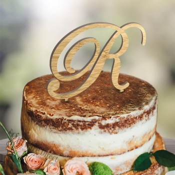 Large Initial Monogram Wooden Cake Topper