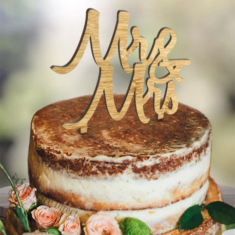 Personalised Bamboo Mr&Mrs Wooden Cut Out Cake Topper