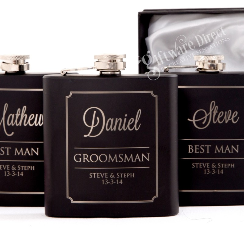 Ultimate Groomsman Wedding Gift Pack Personalised Flask Whiskey Glass