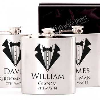 personalised engraved silver hip flask gift - groomsman and best man present
