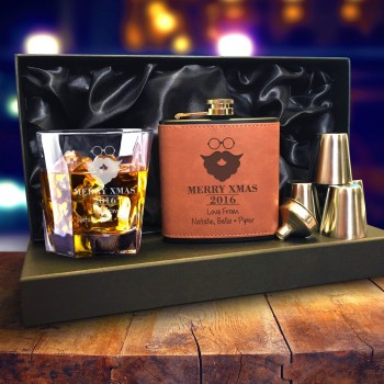 Deluxe christmas pack brown leather flask and whiskey glass set
