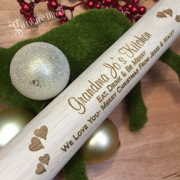 Personalised Engraved Christmas Wooden Rolling Pin