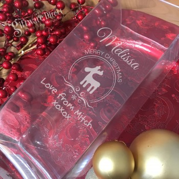 Engraved Christmas Glass vase