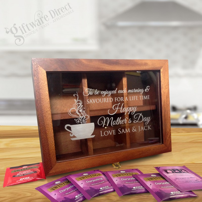 Personalised Christmas Wooden Tea Box Tea Bag Caddy