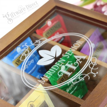 Personalised Engraved Christmas Wooden Tea Box with Acrylic Window