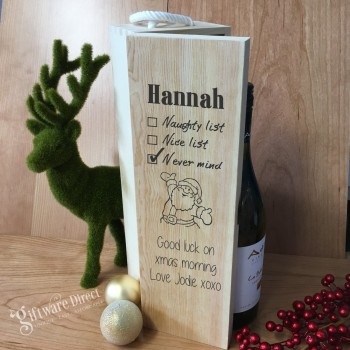 Personalised Christmas Wooden Wine Box Packaging with Handle Raw Pine