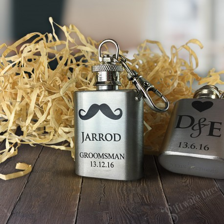 personalised engraved mini 1oz hip flask stainless steel
