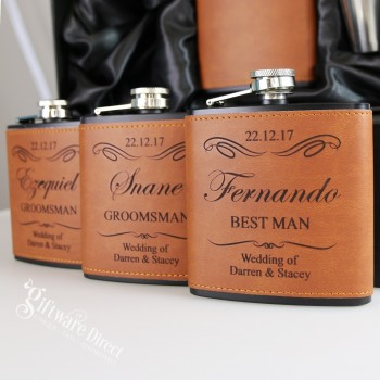 Engraved 6oz Leather & Black Hip Flask Bridal Party Gift
