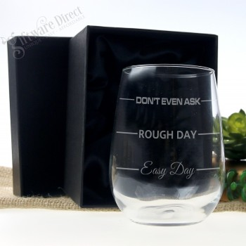 Easy Day Rough Day Mothers Day Wine Glass Birthday Gift for Mum