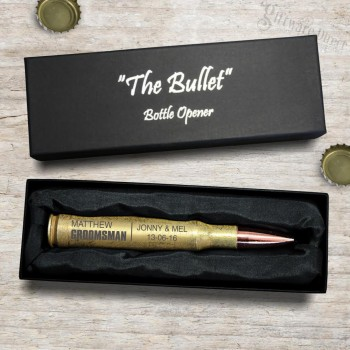 Engraved Bullet Bottle Opener 50 Caliber Groomsman Gift
