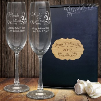 Mothers Day Personalised Double Champagne Glass Set