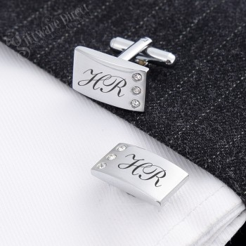 Silver Bling Cufflink Set Laser Engraved