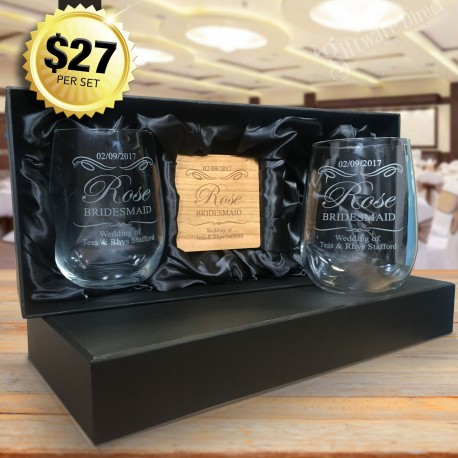 Ultimate Bridesmaid Stemless Wine Glass Pack