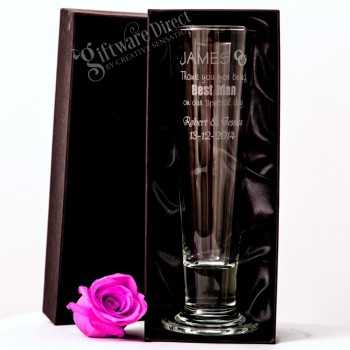 engraved pilsner beer glass for groomsman and best man wedding gift
