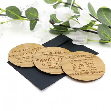 laser engraved round wooden save the date bamboo stationary rustic vintage
