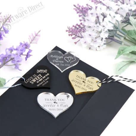 Engraved Heart Acrylic Gift Tag with Jute String