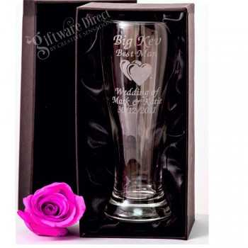 engraved schooner beer glass for groomsman and best man wedding gift etched