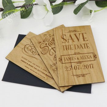 11B Laser Engraved Timber 'Save The Date' Cards