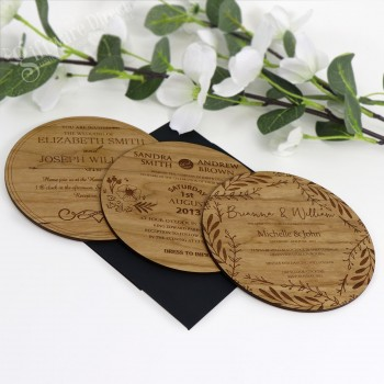 Large Round Timber Wedding Invitation Cards