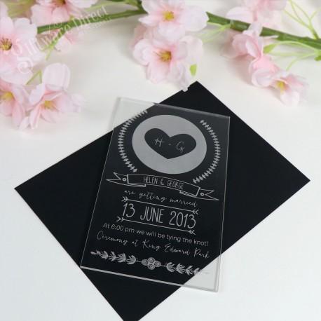 Custom engraved 11b Acrylic Wedding Invitation Australia