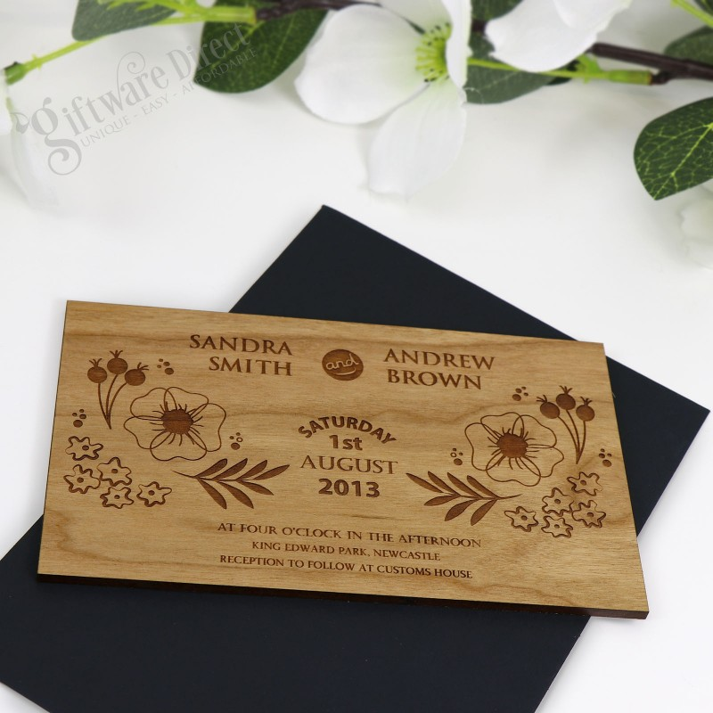 Custom engraved 11b Wooden Wedding Invitation Australia