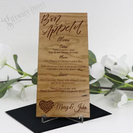 11B Laser Engraved Timber Menu Card