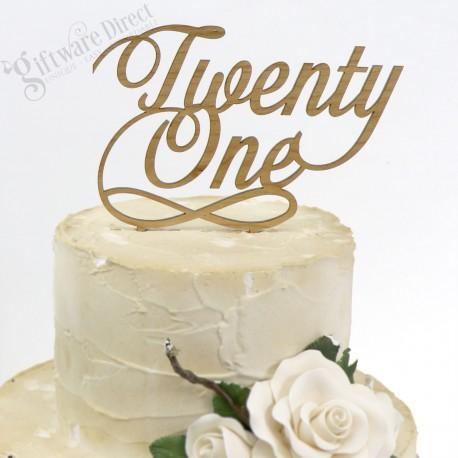 21st Birthday Cake Topper Bamboo Elegant Script