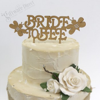 Custom Bridal Shower Hens Night Cake Topper Bride To Be - Bee Design - Wooden Bamboo