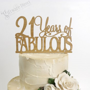 21 & Fabulous Birthday Bamboo Cake Topper Any Age