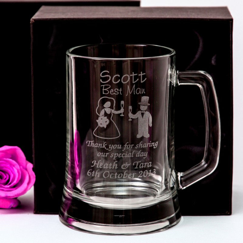 Wedding Gift Beer Mugs : engraved wedding beer stein for groomsman gift - beer mug - glass