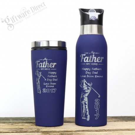 Father's Day Set of Engraved Stainless Steel Water Bottle and Travel Coffee Mug Thermal